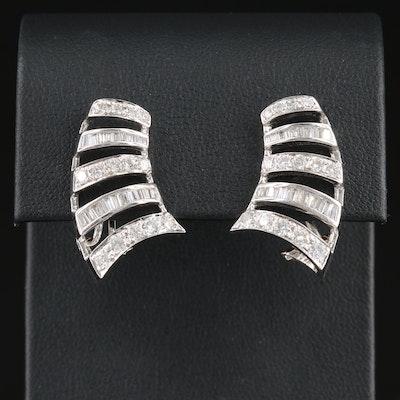 18K White Gold 1.47 CTW Diamond Earrings
