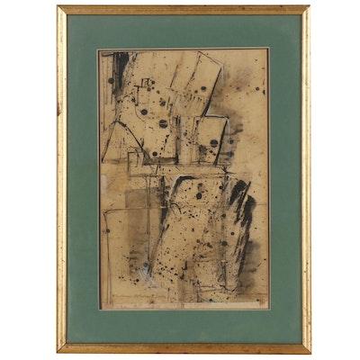 William Charles Palmer Abstract Mixed Media Painting, 1950