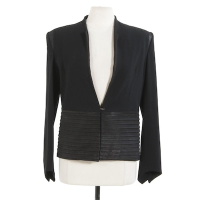 Helmut Lang Black Wool and Leather Blazer