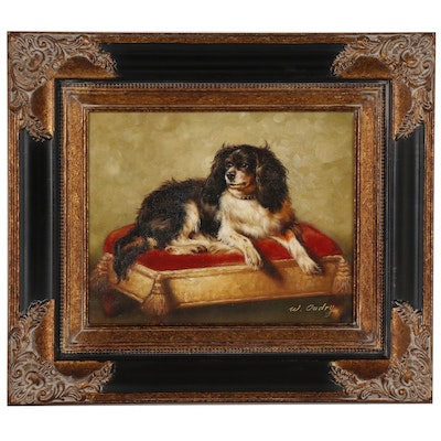 Dog Portrait Oil-Embellished Giclée of Spaniel