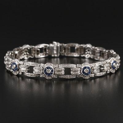 14K White Gold 1.45 CTW Diamond and Sapphire Bracelet