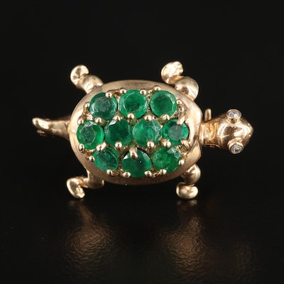 10K Yellow Gold Emerald and Diamond Turtle Converter Brooch