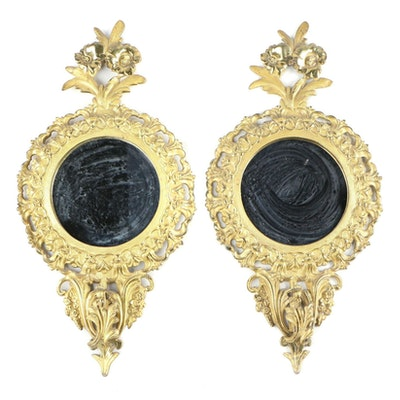 Baroque Style Brass Gilt Mirrors with Floral Motif, Early to Mid-20th Century