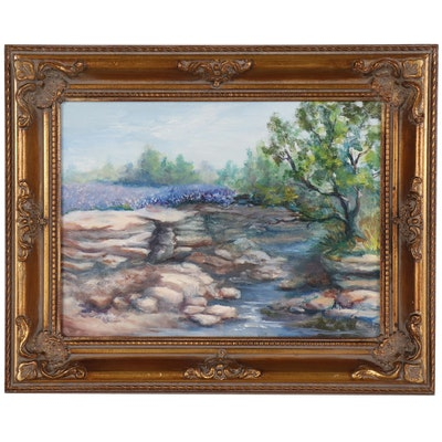 Vernal Landscape Oil Painting, Late 20th to 21st Century