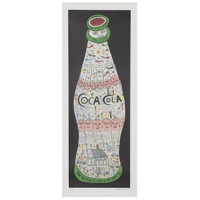 "Howard Finster Offset Lithograph ""Coke Bottle"""
