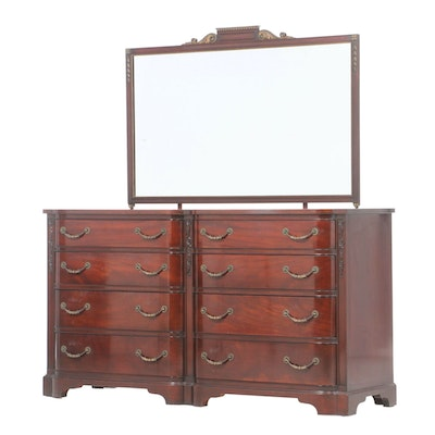 Paine Furniture Hepplewhite Style Mahogany Dresser with Mirror, circa 1950