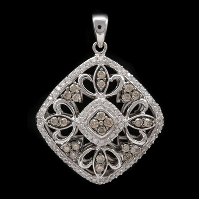 14K White Gold Diamond Openwork Pendant