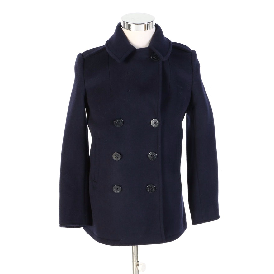 J. Peterman US Navy Style Peacoat in Bottomless Blue