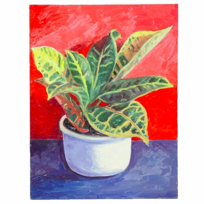 Farnoosh Lanjani Still Life of Potted Plant Oil Painting
