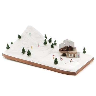 Ski Slope Model Display with Lodge and Skiers, circa 1970s