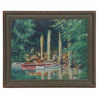 Boat Landing Oil Painting, Mid 20th Century