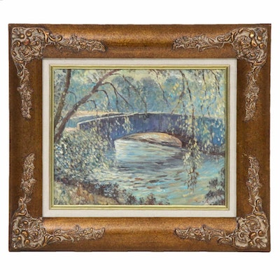 Landscape with Bridge Oil Painting