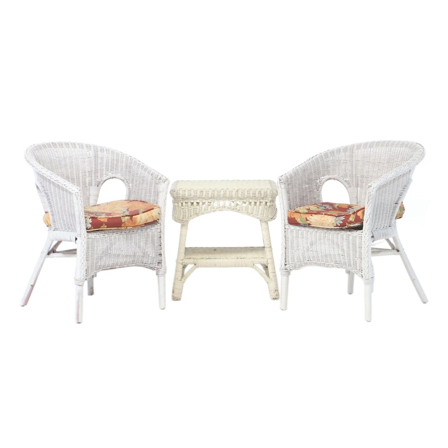 Pair of Painted Wicker Chairs and Table, Mid-20th Century