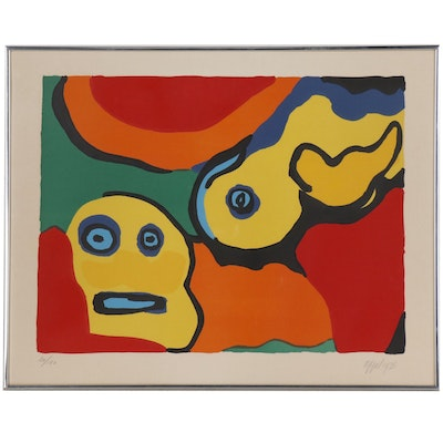 "Karel Appel Color Lithograph ""Yellow Boy and Sun"", 1973"