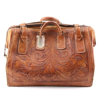 Tooled Leather Weekender Bag, 1950s Vintage