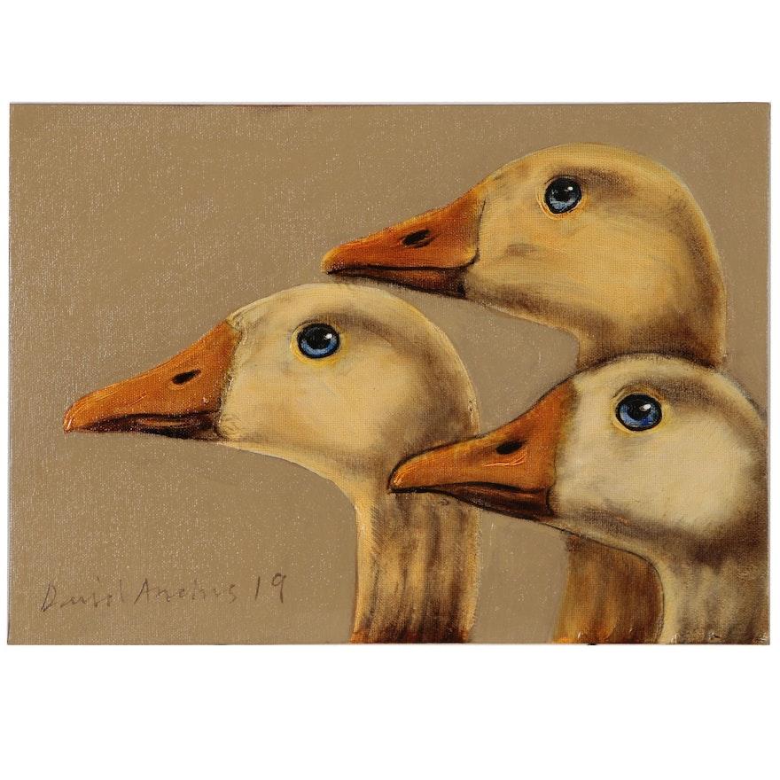 David Andrews Oil Painting of Geese