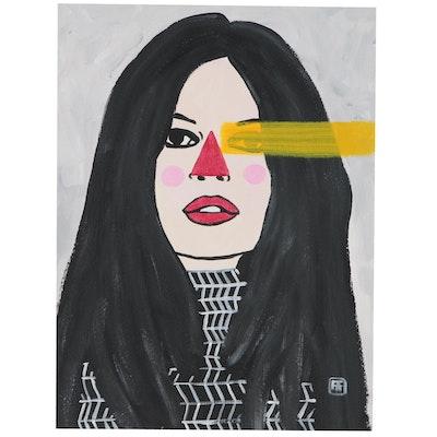 "Francois Aguiard Portrait Acrylic Painting ""Brigitte Bardot"""