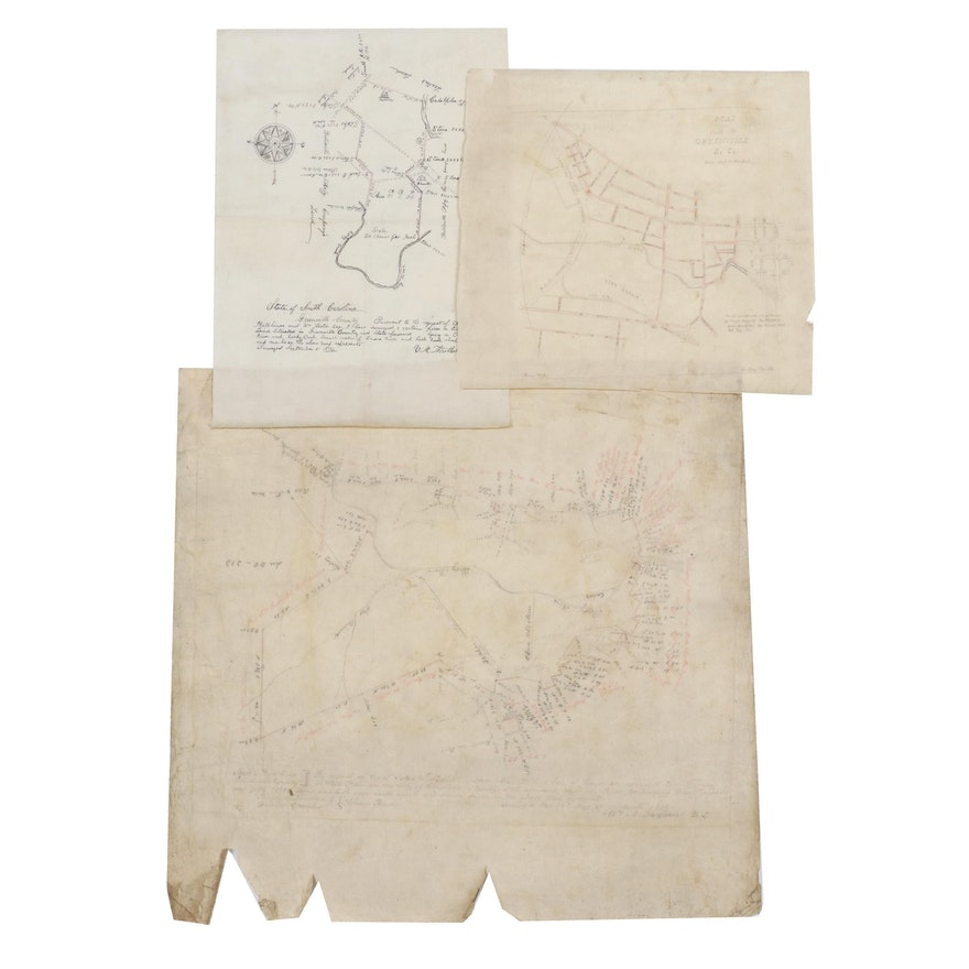 Land Survey Drawings from Greenville, South Carolina, Late 19th Century