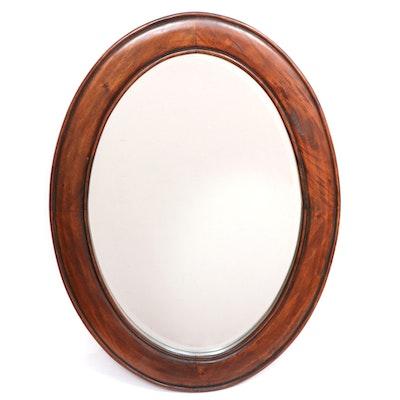 Wood Oval Wall Mirror