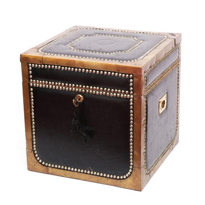 Leather and Brass with Nailhead Design Small Trunk, Mid-20th Century