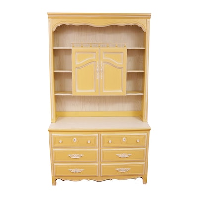French Provincial Style Dresser with Hutch, Mid-20th Century