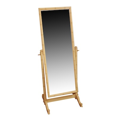 Bamboo Style Cheval Mirror, Mid-20th Century