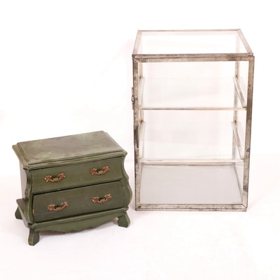 Metal and Glass Tabletop Curio Cabinet with Wooden Jewelry Chest