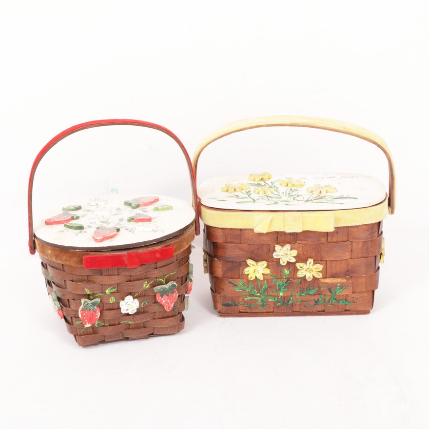 Hand-Painted Basket Purses by Joanne, 1970s Vintage