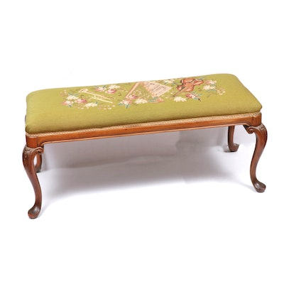 Queen Anne Style Needlepoint Floral Wood Bench, Mid-20th Century