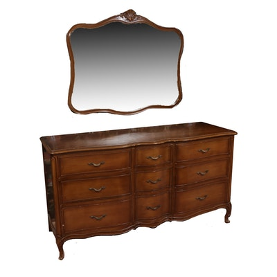 Drexel-Heritage Wood Chest of Drawers and Mirror, Mid-20th Century