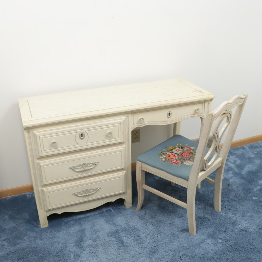 KenLea Crafts French Provincial Style Desk and Needlepoint Chair, Mid-20th C.