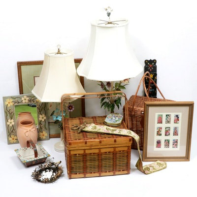 Floral-Themed Decor Including Lamps, Baskets, and Wall Decor