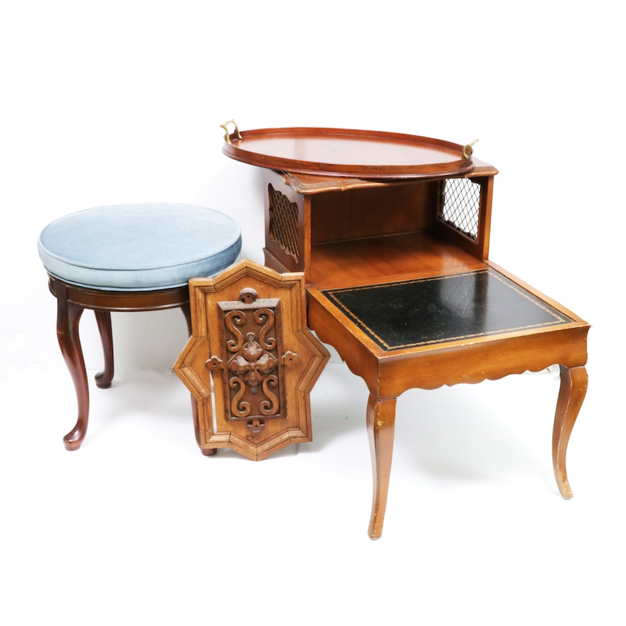 Accent Furnishings Including Mahogany and Walnut, Mid-20th Century