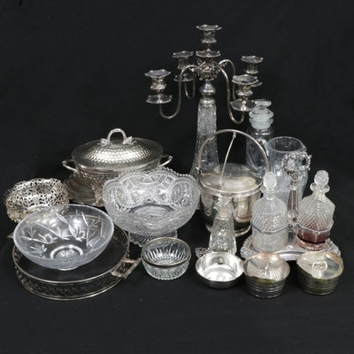 Silver Plate, Cut Crystal, and Glass Serveware and Tableware, Mid-20th Century
