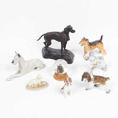 Alabaster, Bronze, Porcelain, and Glass Dog Figurines