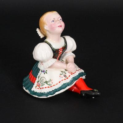 Jaro Koubek Ceramic Figurine of Seated Girl in Dirndl, Mid-20th Century