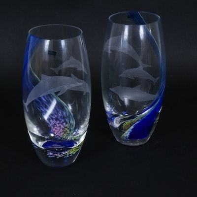 Caithness Art Glass Vases with Etched Dolphins