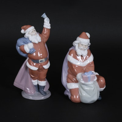 "Lladró ""A Gift from Santa"" and ""Jolly Santa"" Porcelain Figurines by Juan Huerta"