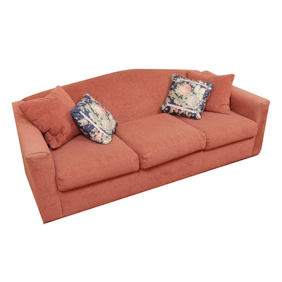 Rowe Pink Cordoury Upholstered Sofa Bed, Mid to Late 20th Century