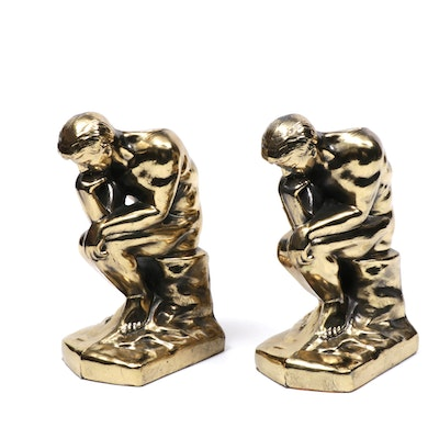 """The Thinker"" Gold Tone Bookends"