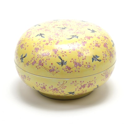 Chinese Hand-Painted Porcelain Lidded Dish with Sparrows and Cherry Blossoms