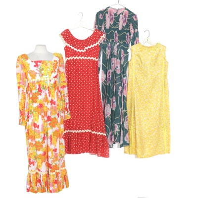 The Lilly by Lilly Pulitzer and Other Printed Maxi Dresses, 1970s Vintage