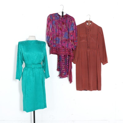 Diane Freis Two-Piece Skirt Set with Other Silk Dresses, 1980s Vintage