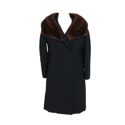 Montaldo's Black Chevron Wool Double-Breasted Coat with Mink Fur Collar, Vintage