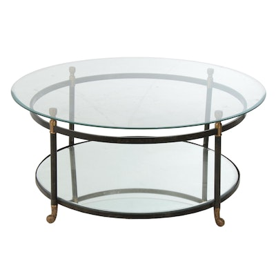 Regency Style Glass Top Wrought Metal Coffee Table with Mirrored Shelf