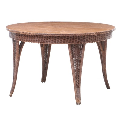 Oak and Wicker Dining Table, Early to Mid 20th Century