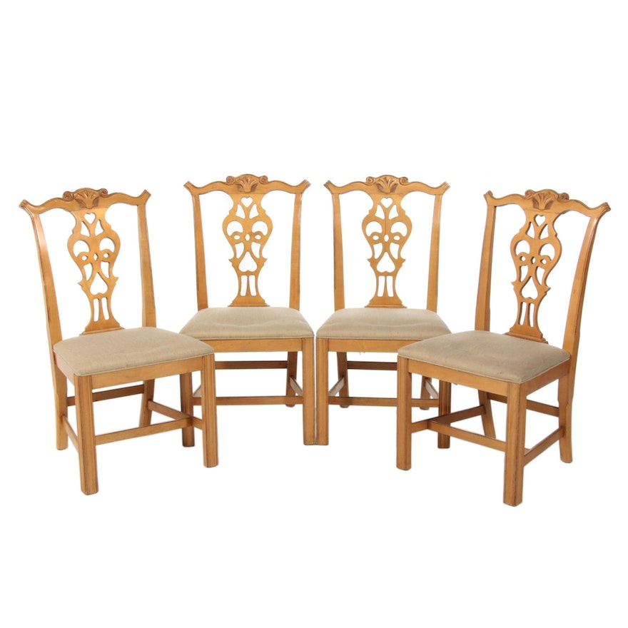 Four Century Chair Co. Chippendale Style Blondewood Side Chairs