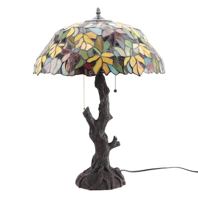 Leaded Stained Glass Table Lamp With Tree Form Base