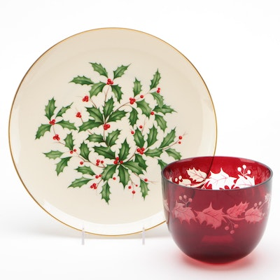 Lenox Porcelain Round Platter and Red Glass Bowl With Holly Plant Motif