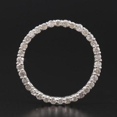 10K White and Yellow Gold Diamond Circular Pendant